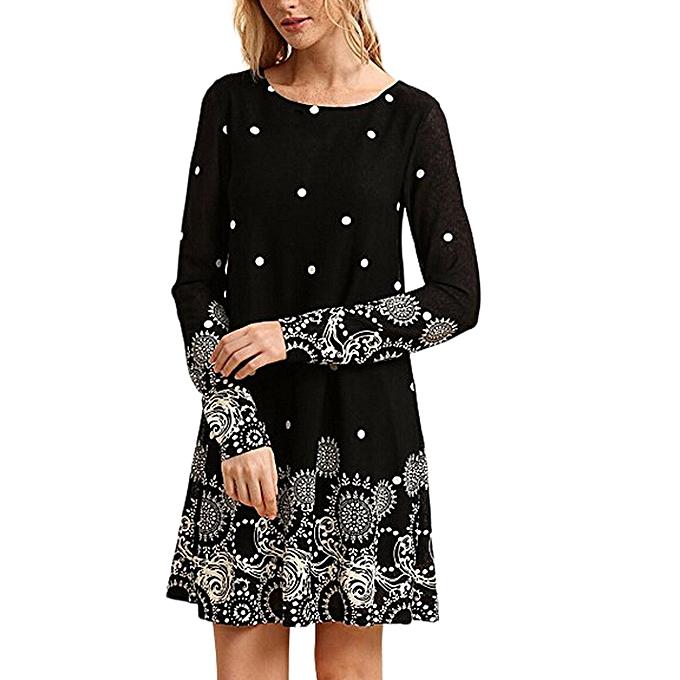 mode schoolcool femmes mode manche longue Décontracté SunRobe Floral Print O-Neck A Line Robe à prix pas cher