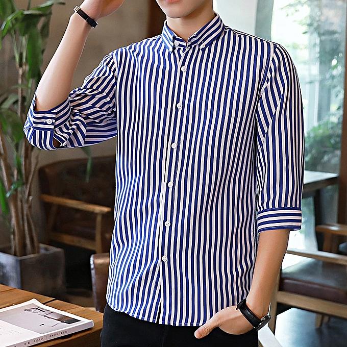 Tauntte Stripe Men Shirts Short Sleeve Slim Formal Shirts (Lake bleu) à prix pas cher