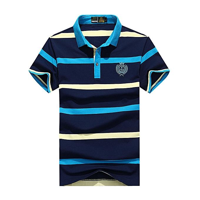 mode Hommes été rayé Printed manche courte Décontracté Polo Shirt à prix pas cher