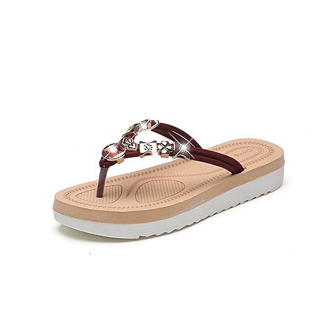 Fashion femmes Summer Beach Casual Clip Toe Comfy Flat Sandals à prix pas cher