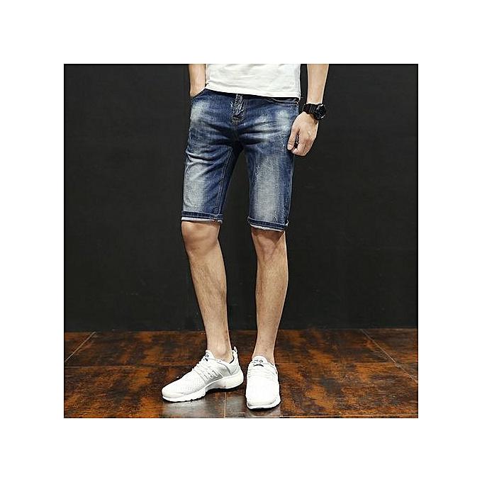 OEM grand Taille été thin Hommes& 039;s jeans pants courtes stretch Slim straight Hommes& 039;s retro pants-bleu à prix pas cher