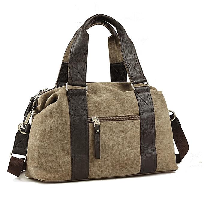 Other New Men Canvas Crossbody bags Large Capacity Casual Travel Bag Daily Use Vintage Male Handbag  Business Clical Design Bolsa M(Khaki) à prix pas cher