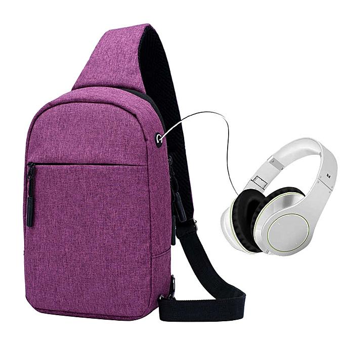 mode Tcetoctre nouveau sports hommes chest sac leisure imperméable shoulder Messenger sac-violet à prix pas cher