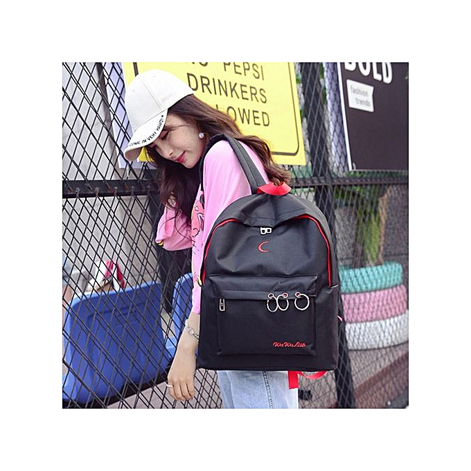 Fashion Singedan Shop Nylon Embroidery Backpack School Shoulder Messenger Bag Travel Rucksacks noir à prix pas cher
