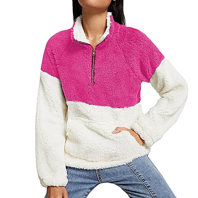 mode Hiamok femmes Plush Autumn Winter hauts OverTaille Fluffy Fleece Sweatshirt Outwear à prix pas cher