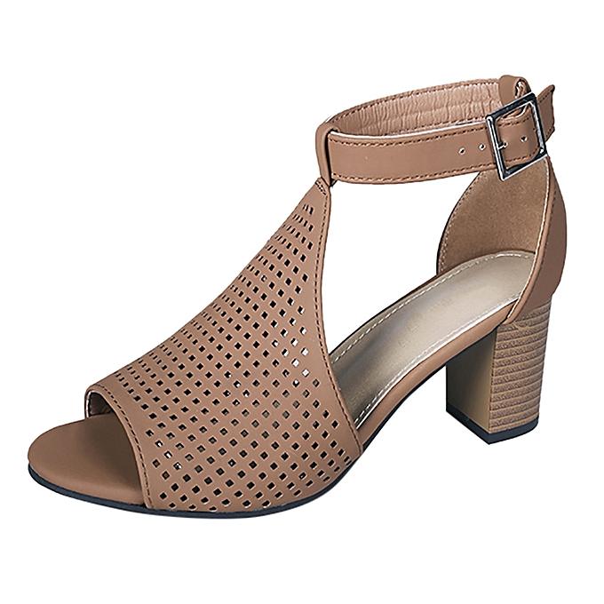 Fashion TEC Wohommes Ladies Square Heel Fish Mouth Hollow Out Buckle Rohomme chaussures Sandals à prix pas cher