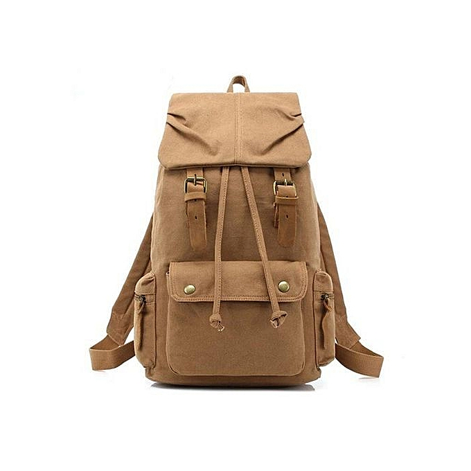 Augur AUGUR Canvas Backpack Straw String Outdoor Mountain Travel Bag Washed Canvas Bag With Leather Camping Rucksack Men femmes noir(Tan) à prix pas cher