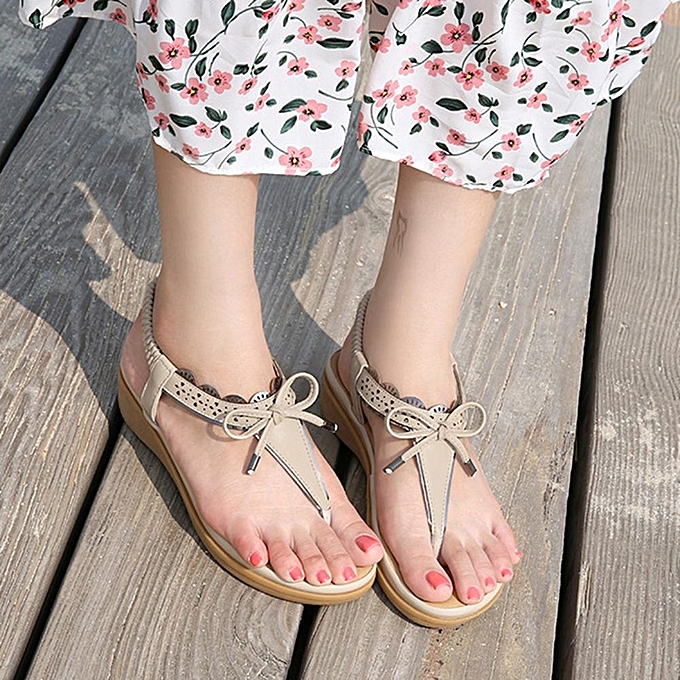 Fashion Fashion WoHommes  Bowknot Elastic Bohemian Clip Clip Clip Toe Slip On Flat Sandals à prix pas cher  | Black Friday 2018 | Jumia Maroc 765fab