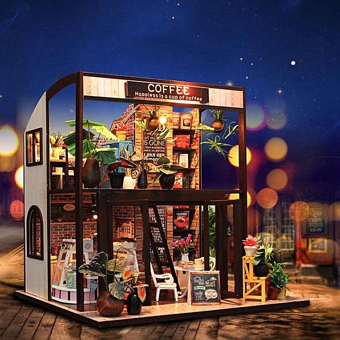 UNIVERSAL Handcraft DIY Doll House Time Cafe Toy boisen Miniature Furniture LED lumière Gift à prix pas cher