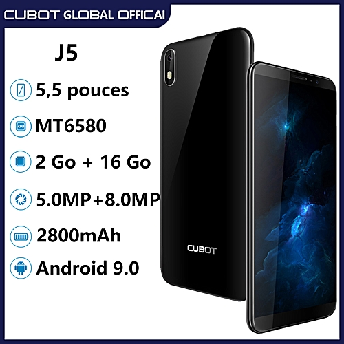 Cubot J5 5 5-Inch (2GB+16GB) Quad Core Android 9 0 Pie 5MP+8MP Smartphone  -Black