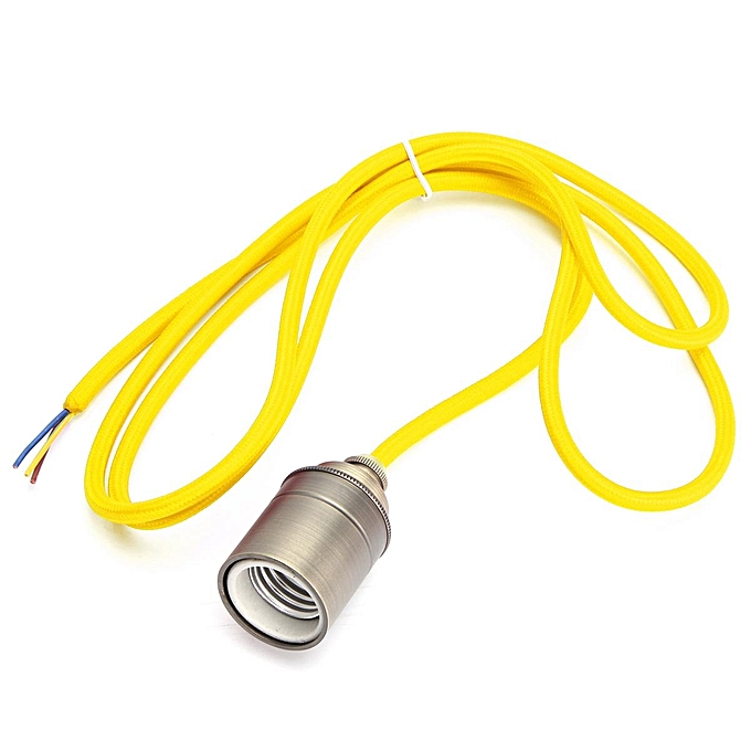UNIVERSAL 2M E27 E26 Vintage Fabric Cable Pendant Light Hanging Filament Lamp Bulb Holder Socket (oren jaune) à prix pas cher