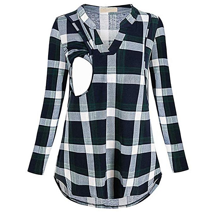 Fashion Hiamok femmes Maternity Breastfeeding Tee Nursing Tops Stripe Print Long Sleeve T-shirt à prix pas cher