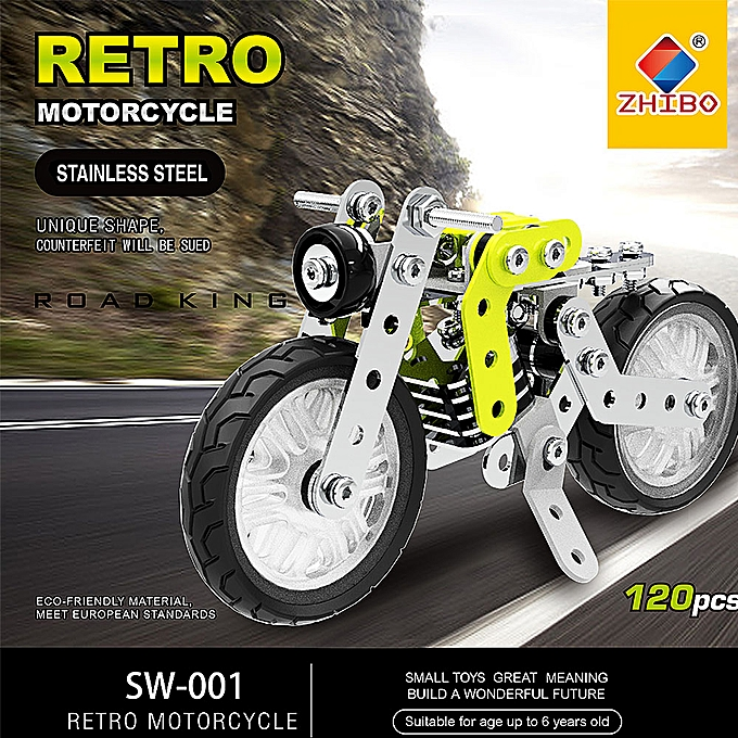 Autre 120Pcs Retro Motorbike Intelligent Construction Set 3D acier inoxydable Model Kit DIY Gift Model Building Educational Toys à prix pas cher
