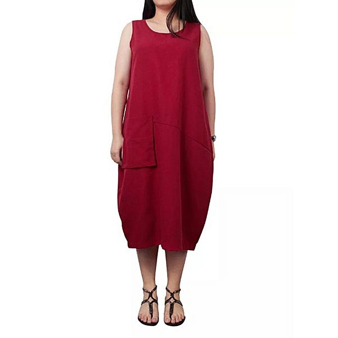 Fashion femmes Lady's O-neck Solid Dress Sleeveless Loose Pocket Linen Dress à prix pas cher