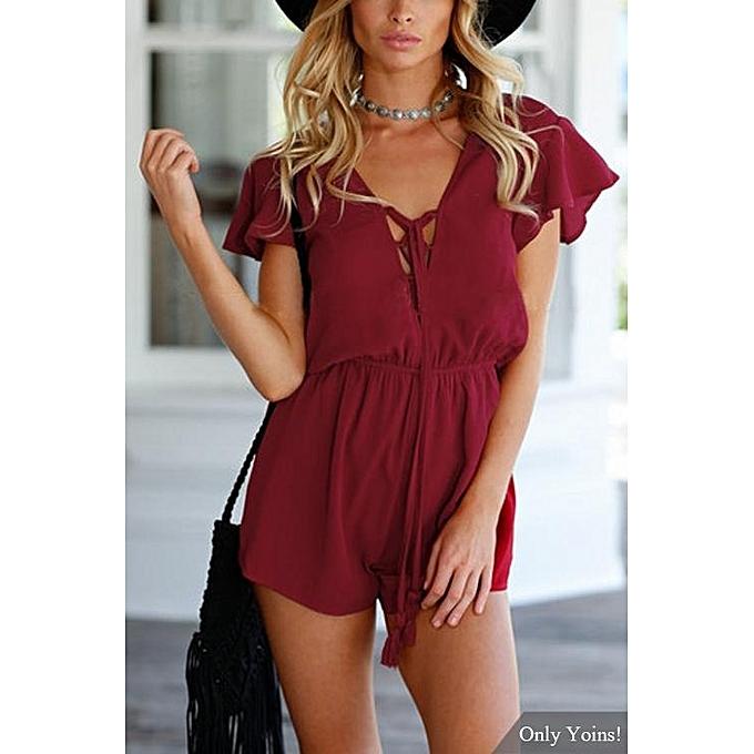 Fashion YOINS femmes New High Fashion Clothing Casual Semi Sheer Open Back Elastic Waist Playsuit à prix pas cher