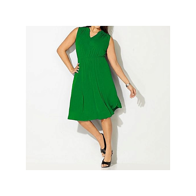 Fashion femmes Sexy V-neck Short Sleeve Party A-line Dress Vintage Stretchy Midi Plus Taille 5XL-vert à prix pas cher