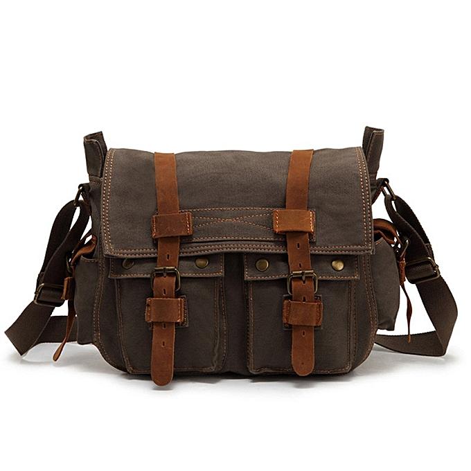 Other FUSHAN High Quality Men Canvas Bag Casual Travel Men's Crossbody Bag Luxury Men Messenger Bags Vintage shoulder bags( vert) à prix pas cher