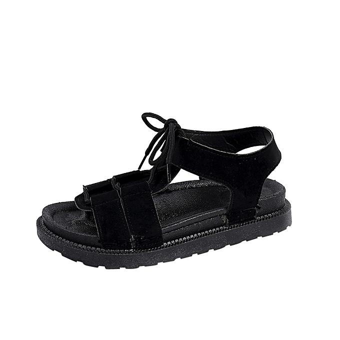 Fashion Blicool Shop femmes Sandals Wohommes Summer Beach Sandals Flat chaussures Open Toe Non-slip Casual Sandals-noir à prix pas cher