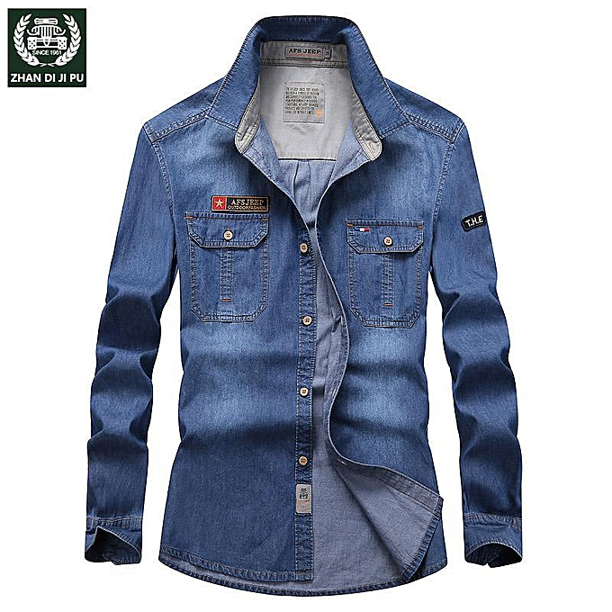 GENERAL Hommes& 039;s cotton grand Taille mode Décontracté loose denim long-sleeved shirt à prix pas cher