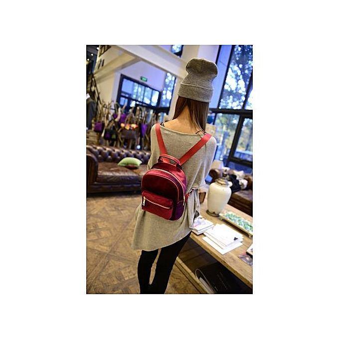 Fashion Singedanfemmes Teenage Girl Velvet Zipper Backpack School Bags Fashion Shoulder Bag - rouge à prix pas cher