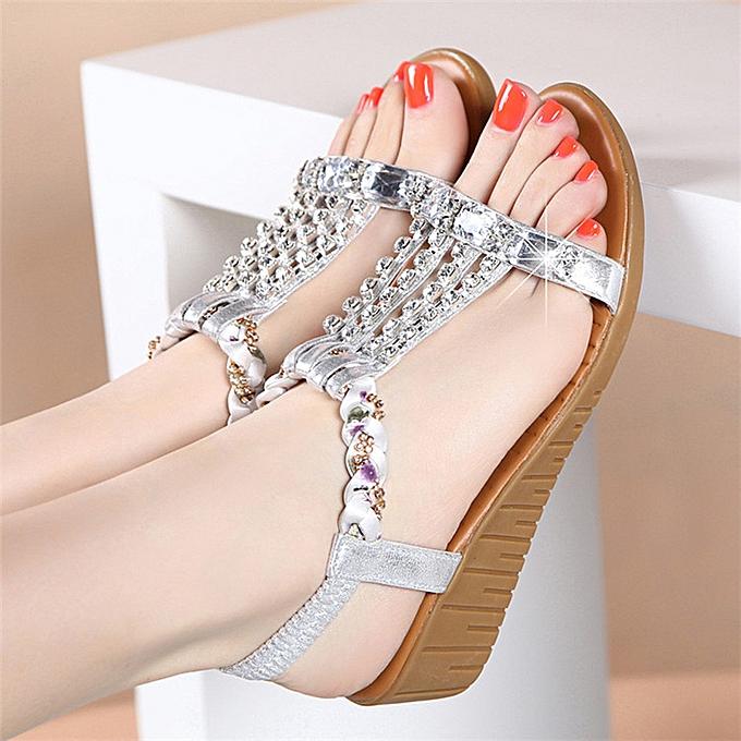 mode (Xiuxingzi) Wohommes Ladies été Crystal Bling Wedges Bohemia plage chaussures Rohomme Sandals à prix pas cher