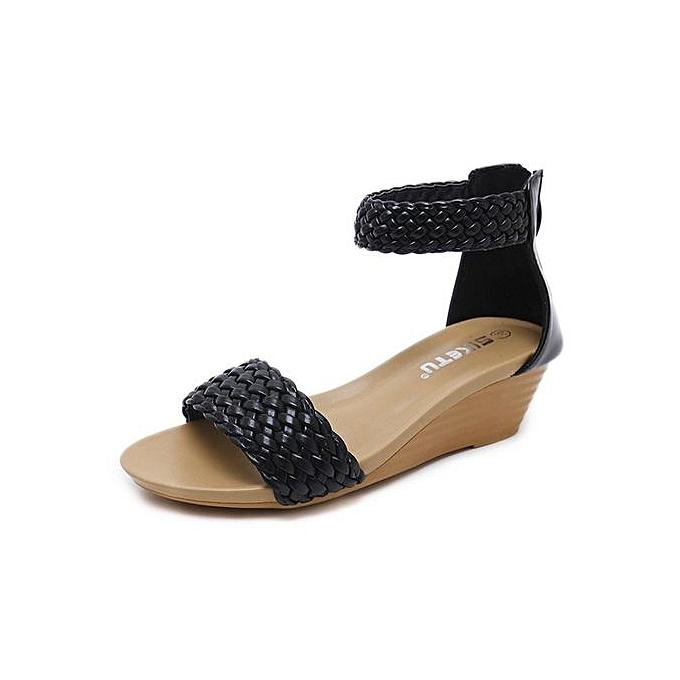 Fashion Roman style  's sandals weave slope   slope  large   comfortable Roman Chaussure s-Noir  à prix pas cher  | Black Friday 2018 | Jumia Maroc c44bef