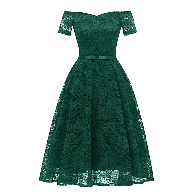 Generic TB femmes A Word Collar Short Sleeve Lace Dresses Vintage Elegant Female Clothing-vert à prix pas cher