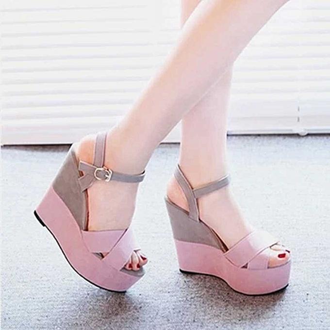 mode TEC femmes Ladies Mixed Couleurs Buckle Peep Toe Wedges Décontracté Loafers Sandals chaussures à prix pas cher