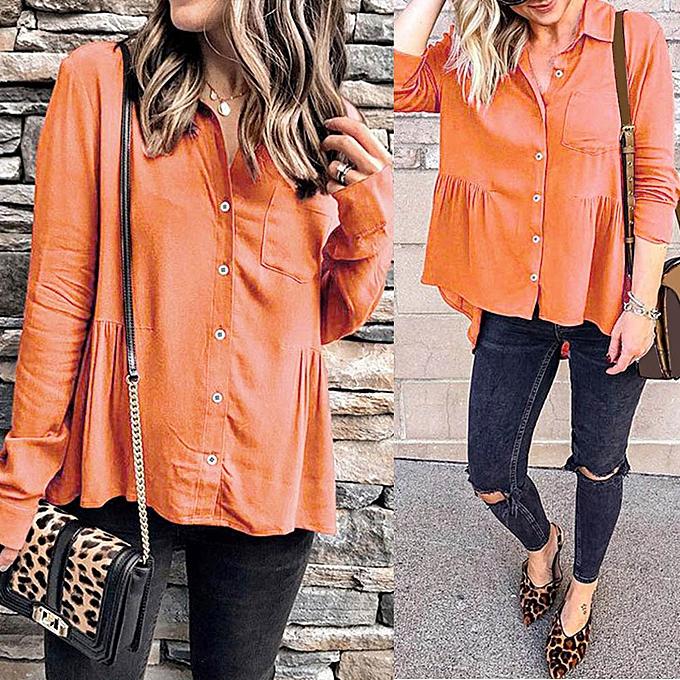 mode meibaol store femmes Décontracté Solid Button Up Button Front Ruffled Pleats Pocket Shirt Top chemisier à prix pas cher