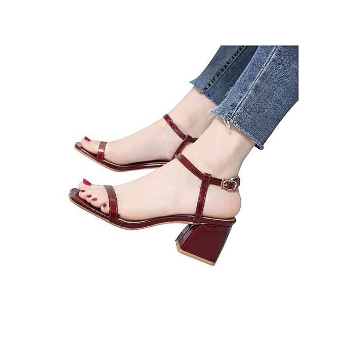 Fashion Bliccol High Heel chaussures femmes Fashion Solid Couleur Square Toe Squar Heel Rome High Heeled chaussures rouge-rouge à prix pas cher    Jumia Maroc