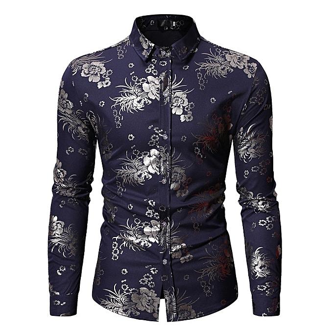 Other Stylish Europe Taille Long Sleeve Lapel Shirt Men's Flower Print Shirt -Navy bleu à prix pas cher