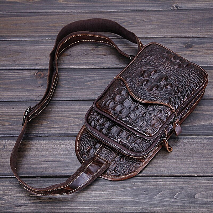 Fashion Men Vintage  Leather Crocodile Grain Sling Pack Chest Bag Cross Body Messenger Shoulder Pouch Packet Travel Riding Bags à prix pas cher