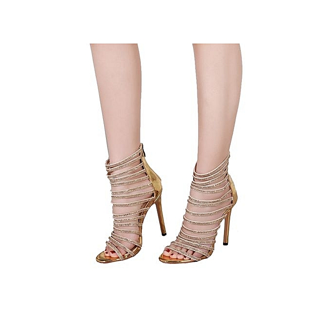 Fashion Bliccol High Heel chaussures femmes High Heel Sandals Party Wedding Dress chaussures Patent Leather Crystal Sandals-or à prix pas cher