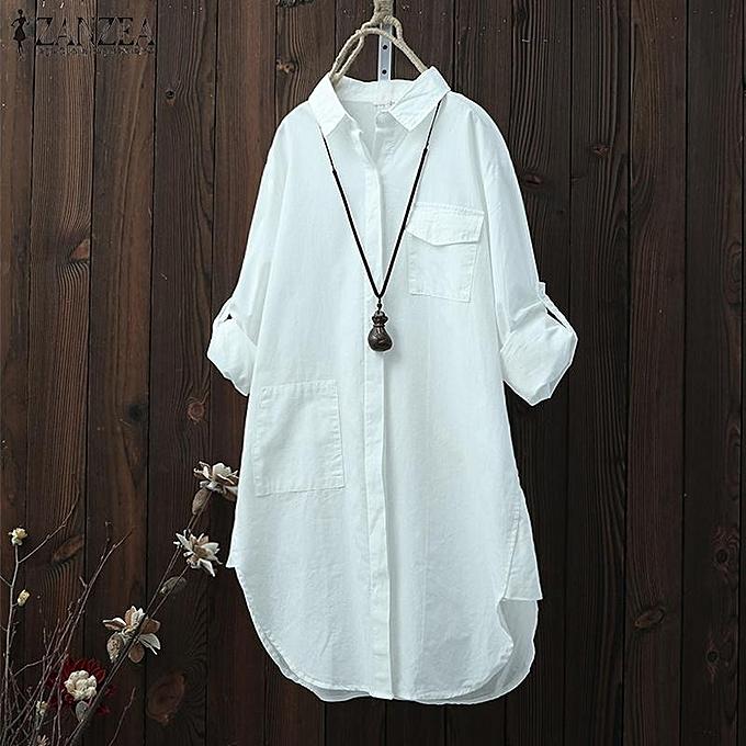 Fashion S-5XL ZANZEA (MD) Chemise décontractée à hommeches longues pour femmes, chemisier asymétrique à revers, Taille plus à prix pas cher