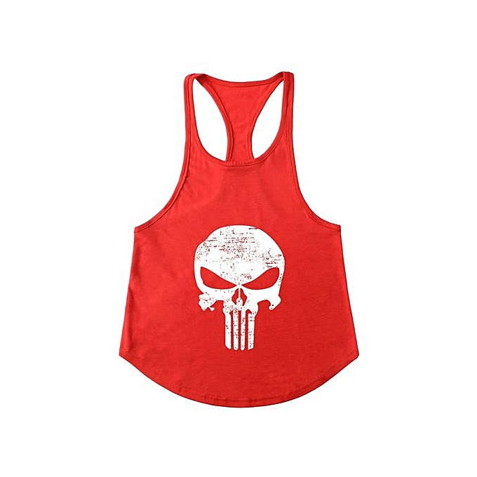 Other nouveau mode Hommes& 039;s Punisher& 039;s Skull Slim Shoulder Belt FonctionneHommest Sports Fitness vest-rouge&blanc à prix pas cher