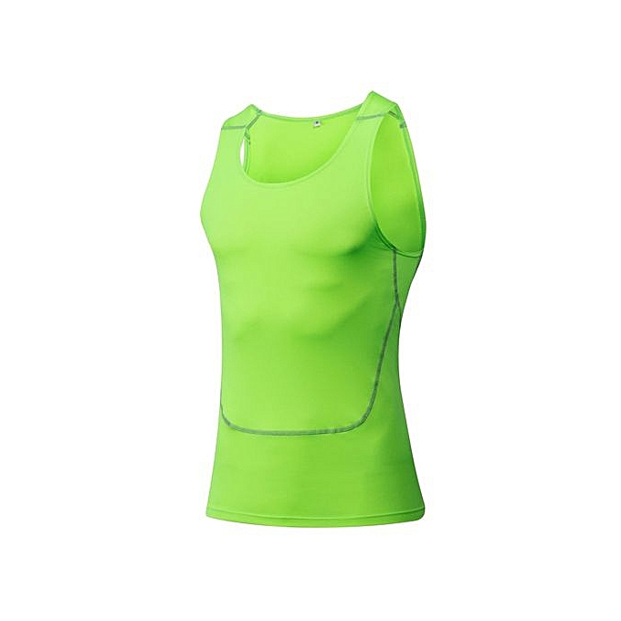 Other Men's Tight Basketball Tank Tops Fitness Vest Singlets Tight -Fluorescent vert à prix pas cher