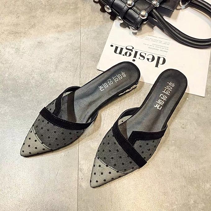 Fashion Sandales plates à pois - Noir à prix pas cher
