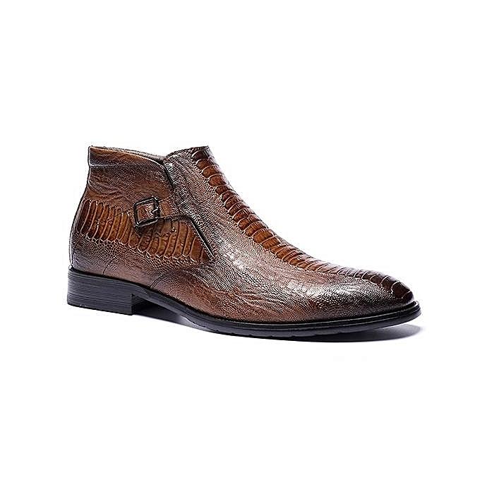 Fashion Fashion Large Size   Crocodile Pattern Plush Plush Pattern Lining Side Zipper Pointed Toe Ankle Boots-EU à prix pas cher  | Jumia Maroc cbb0d1