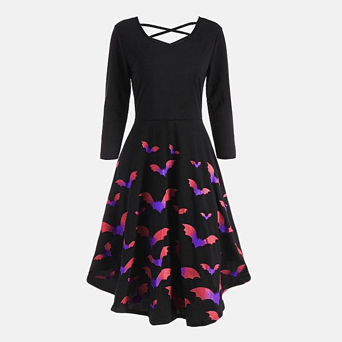 Fashion femmes Long Sleeve Hollow Halloween Bat Print Flare Dress Party Casual Dresses à prix pas cher