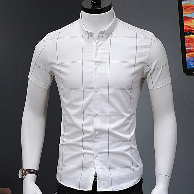 Fashion Trellis design cotton casual shirt-blanc à prix pas cher