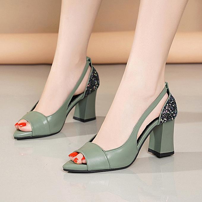 Fashion jiahsyc store femmes Ladies Fashion Peep Toe Crystal Causal High Heeled Work chaussures Sandals à prix pas cher