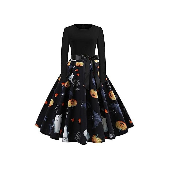 Generic Nouvelle robe à hommeches longues pour femmes avec ceinture-multi1 à prix pas cher