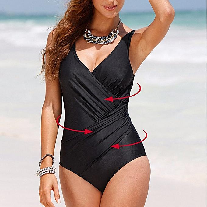 Autre nouveau été push up backless Leotard female fold style solid maillot de bain grand Taille maillot de bain Bathing suit femmes(bule) à prix pas cher