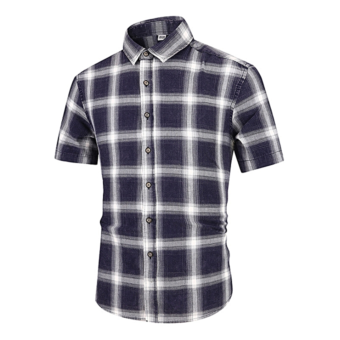 Fashion Men's shirt Summer new short-sleeved new cotton-colort spinning plaid Korean version of the self-cultivation casual shirt male-noir à prix pas cher