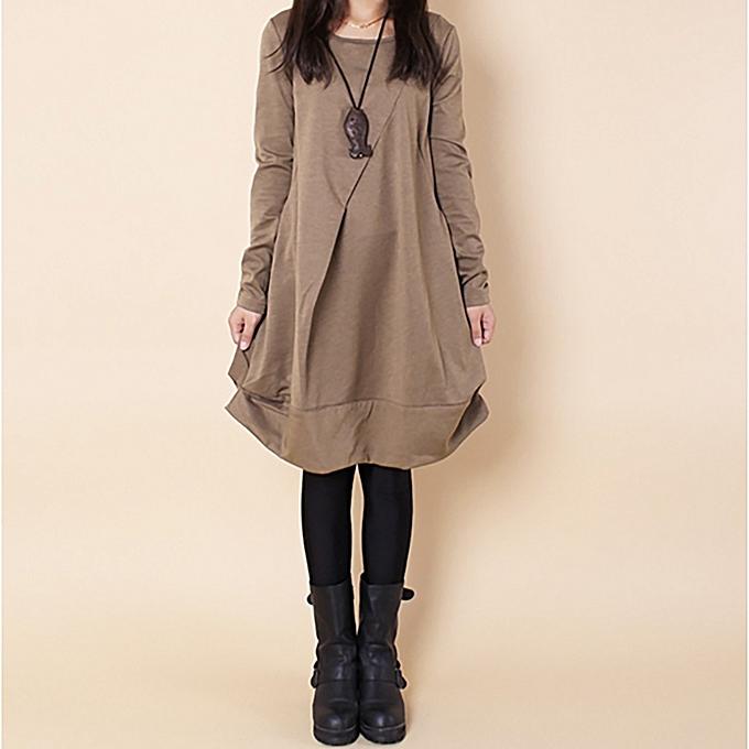 mode (Xiuxingzi) femmes Spbague manche longue Larg Taille Lrregular Pockets Round Collar femmes chemisier à prix pas cher