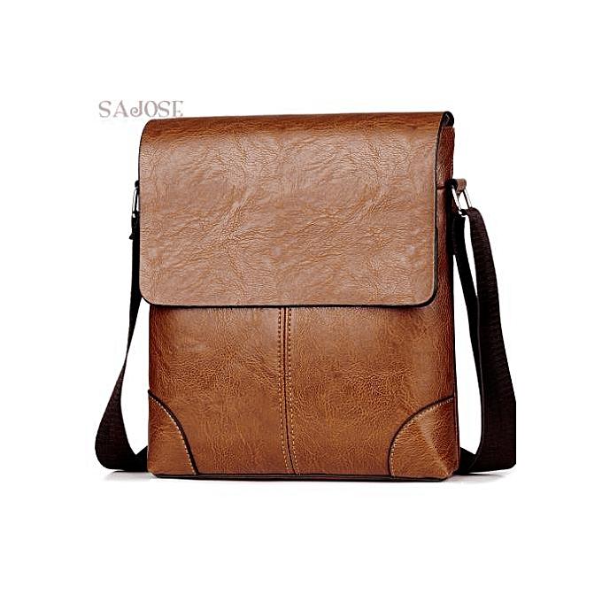 Other Crossbody Bags For Men's PU Leather Shoulder Bag Casual Vintage 2 Sets Fashion Business High Quality HandBags Men Messenger Bags(big-khaki) à prix pas cher