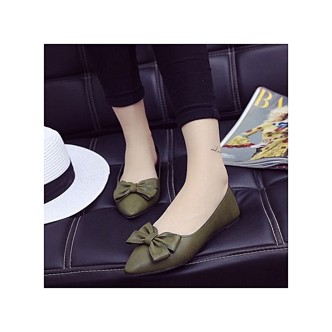 Fashion New Casual femmes Lady Pointed Toe Bowknot Flats Classic Slip On Pump Boat chaussures vert à prix pas cher    Jumia Maroc