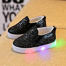 e53ad4a758992 Chaussures Sneakers LED Lumineux Enfant - Noir