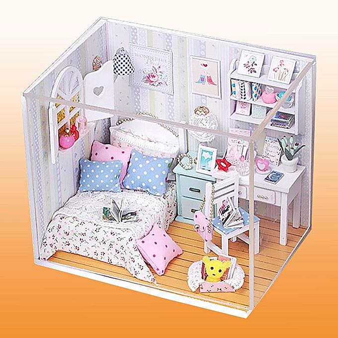 OEM Nouveaux kits bricolage bois poupée miniature avec LED + meubles + couverture salle de maison de poupée à prix pas cher