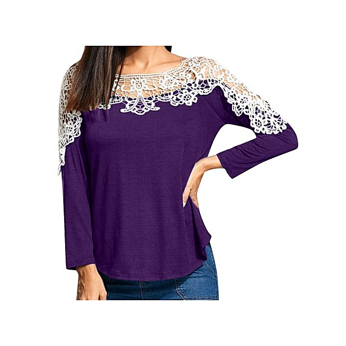 Fashion Hiamok femmes Ladies Casual Lace Patchwork T-Shirt Long Sleeve Tunic Tops Blouse PP L à prix pas cher